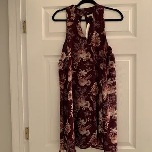 NWT Francesca's Maroon/Wine colored floral Dress